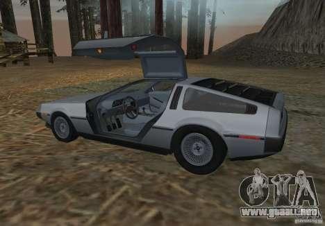 DeLorean DMC-12 para GTA San Andreas vista posterior izquierda