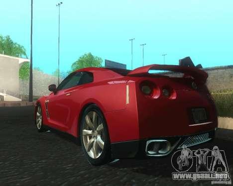 Nissan GTR R35 Spec-V 2010 Stock Wheels para GTA San Andreas vista posterior izquierda