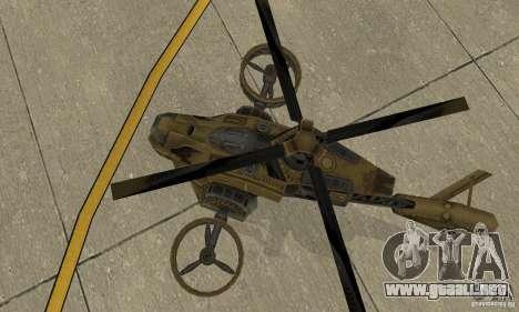 Un helicóptero desde el juego TimeShift Brown para GTA San Andreas vista hacia atrás