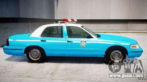 Ford Crown Victoria Classic Blue NYPD Scheme para GTA 4 Vista posterior izquierda