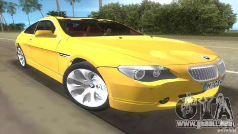 BMW 645Ci para GTA Vice City vista posterior