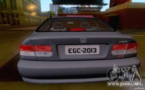 Honda Civic 1999 para GTA San Andreas vista hacia atrás