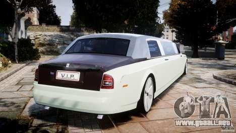 Rolls Royce Phantom Sapphire Limousine Disco para GTA 4 Vista posterior izquierda