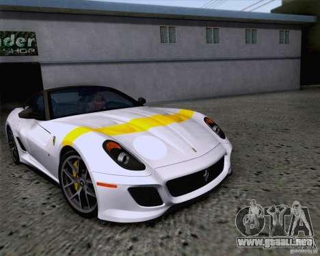 Ferrari 599 GTO 2011 v2.0 para la vista superior GTA San Andreas