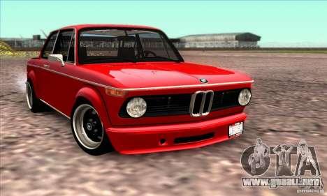 BMW 2002 Turbo para la vista superior GTA San Andreas