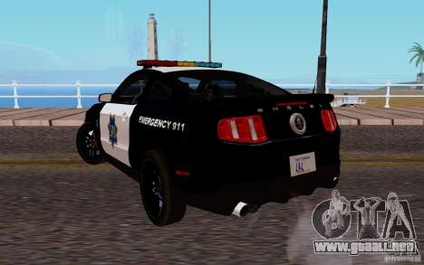 Ford Shelby Mustang GT500 Civilians Cop Cars para GTA San Andreas vista posterior izquierda