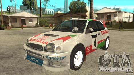 Toyota Corolla 1999 Rally Champion para GTA San Andreas vista posterior izquierda