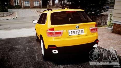 BMW X5 E70 v1.0 para GTA 4 Vista posterior izquierda