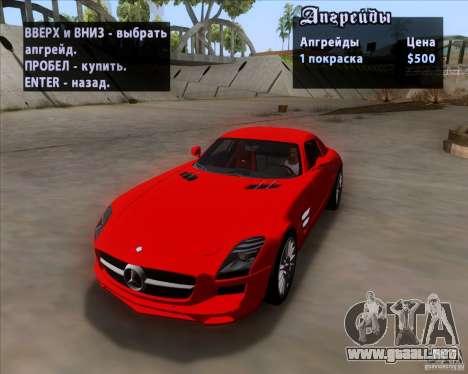 Mercedes-Benz SLS AMG V12 TT Black Revel para visión interna GTA San Andreas