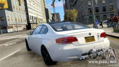 BMW M3 E92 2008 v1.0 para GTA 4 Vista posterior izquierda