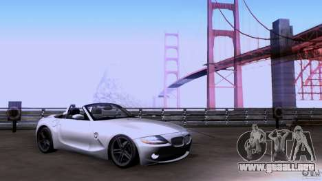 BMW Z4 V10 para GTA San Andreas vista posterior izquierda
