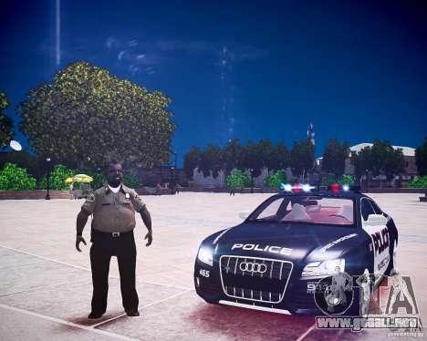 Audi S5 Police para GTA 4 vista hacia atrás