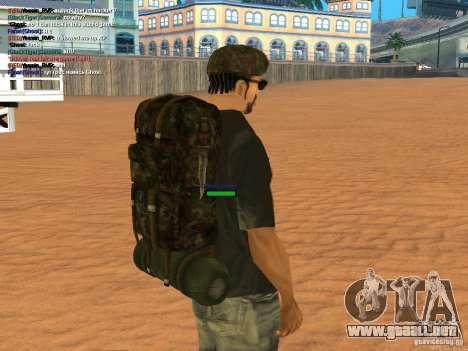 Military backpack para GTA San Andreas sucesivamente de pantalla