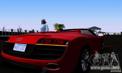 Audi R8 Spyder para GTA San Andreas vista posterior izquierda