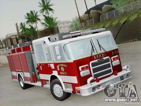Pierce Pumpers. San Francisco Fire Departament para GTA San Andreas left