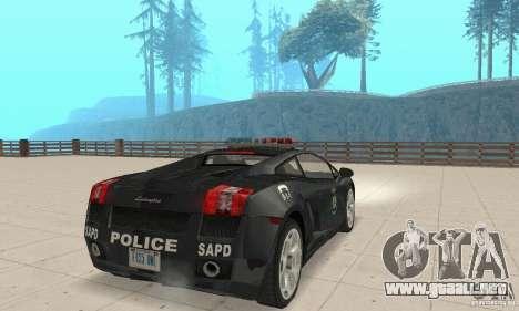 Lamborghini Gallardo Police para GTA San Andreas left