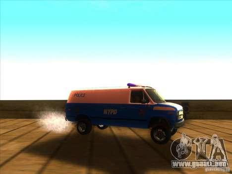 Chevrolet Van G20 BLUE NYPD 1990 para la visión correcta GTA San Andreas