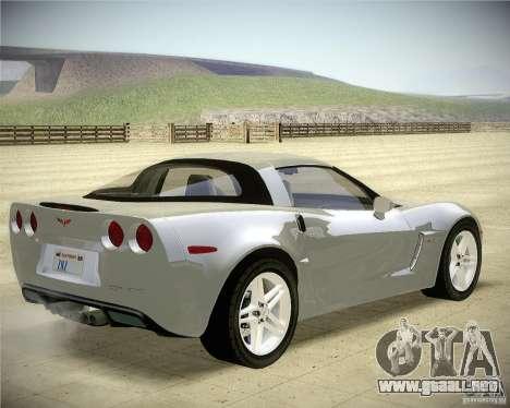 Chevrolet Corvette Z06 para GTA San Andreas vista posterior izquierda