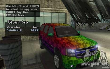 Chevrolet Tahoe para visión interna GTA San Andreas