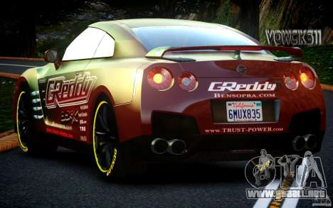 Nissan GT-R Black Edition GReddy para GTA 4 vista hacia atrás