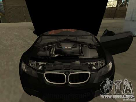 BMW M3 E92 Tunable para GTA San Andreas vista posterior izquierda