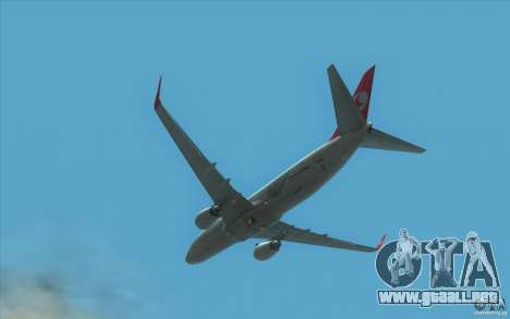 Boeing 737-800 THY para GTA San Andreas vista hacia atrás