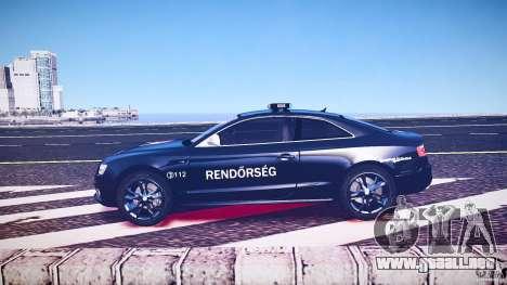 Audi S5 Hungarian Police Car black body para GTA 4 vista lateral