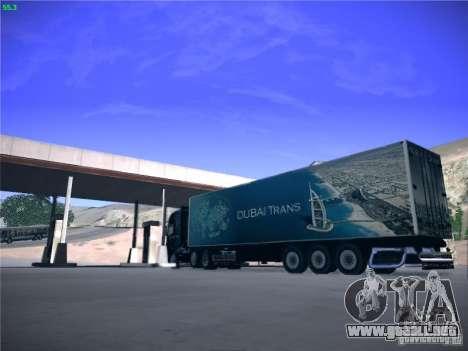 Remolque para el transporte del Scania R620 Duba para GTA San Andreas vista posterior izquierda