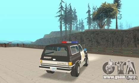 Chevrolet Blazer Sheriff Edition para GTA San Andreas vista posterior izquierda