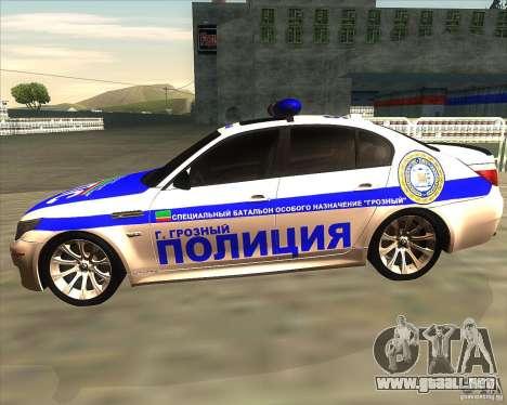 BMW M5 E60 policía para GTA San Andreas left