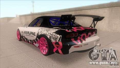 Mazda RX-7 FD K.Terej para GTA San Andreas vista posterior izquierda