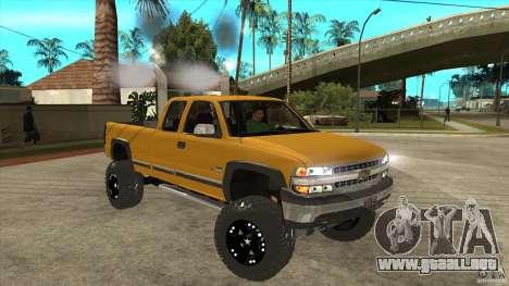 Chevrolet Silverado 2500 Lifted para GTA San Andreas vista hacia atrás