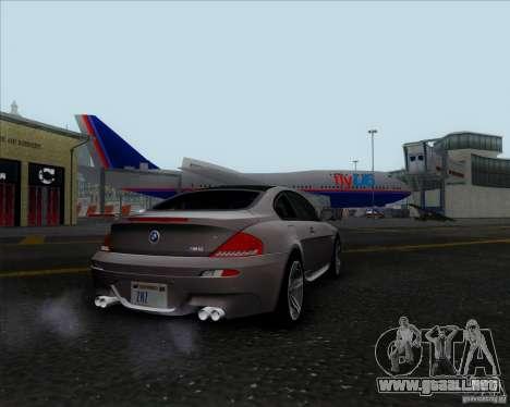 BMW 6 Series M para GTA San Andreas vista posterior izquierda
