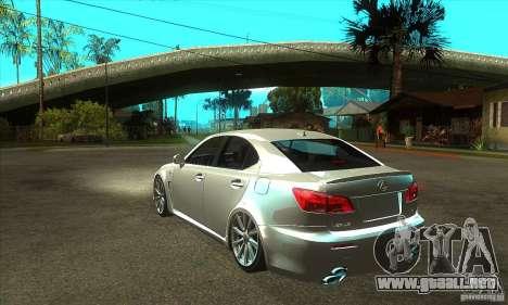 Lexus IS F 2009 para GTA San Andreas vista hacia atrás