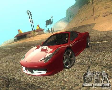 Ferrari 458 Italia Convertible para vista lateral GTA San Andreas