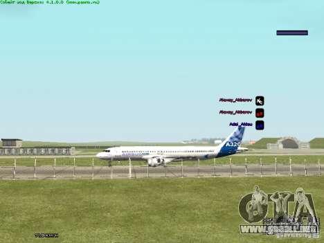 Airbus A320-300 para GTA San Andreas vista posterior izquierda