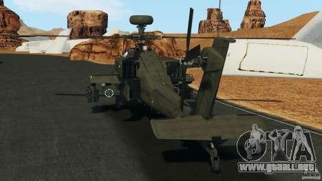 Boeing AH-64 Longbow Apache v1.1 para GTA 4 Vista posterior izquierda
