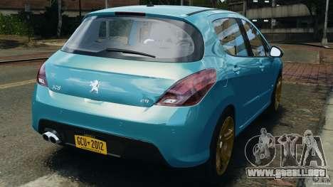 Peugeot 308 GTi 2011 v1.1 para GTA 4 Vista posterior izquierda