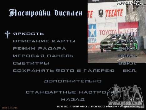 Fórmula menú estilo Drift para GTA San Andreas quinta pantalla