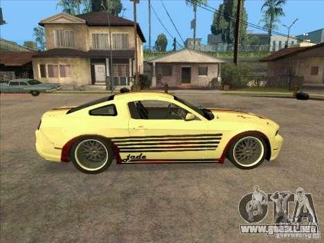 Ford Mustang Jade from NFS WM para GTA San Andreas vista hacia atrás
