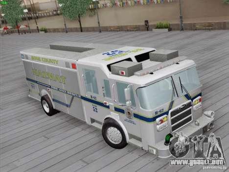 Pierce Fire Rescues. Bone County Hazmat para GTA San Andreas vista posterior izquierda