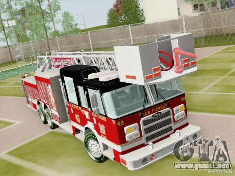 Pierce Rear Mount SFFD Ladder 49 para vista lateral GTA San Andreas