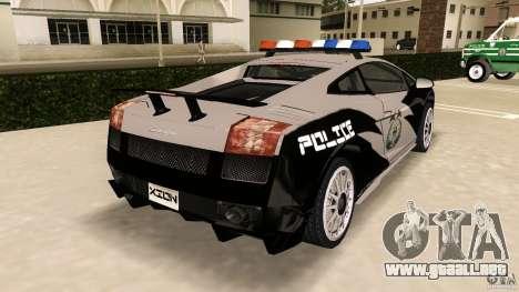 Lamborghini Gallardo Police para GTA Vice City vista lateral izquierdo