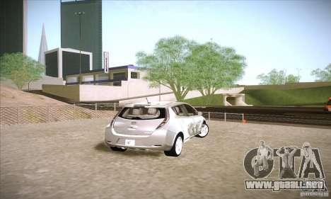 Nissan Leaf 2011 para GTA San Andreas vista posterior izquierda