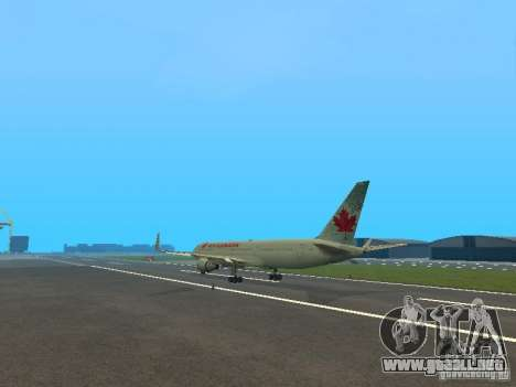 Boeing 767-300 Air Canada para GTA San Andreas vista hacia atrás