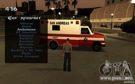 Vehicles Spawner para GTA San Andreas sexta pantalla