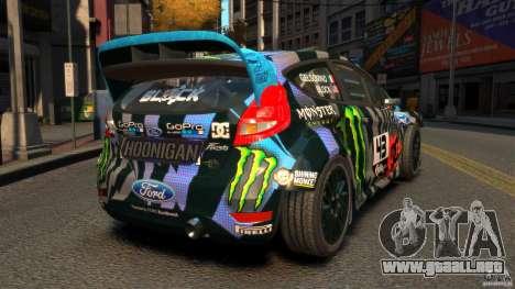Ford Fiesta Rallycross Ken Block (Hoonigan) 2013 para GTA 4 Vista posterior izquierda