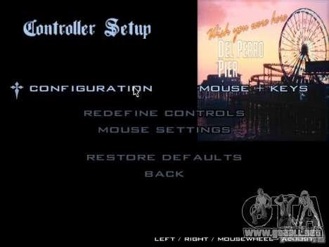 El menú principal en el estilo de GTA 5 para GTA San Andreas quinta pantalla
