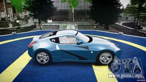 Nissan 370Z Coupe 2010 para GTA 4 vista desde abajo