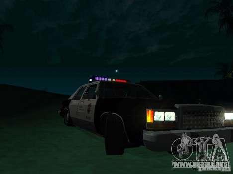 Ford Crown Victoria LTD 1992 SFPD para GTA San Andreas vista hacia atrás